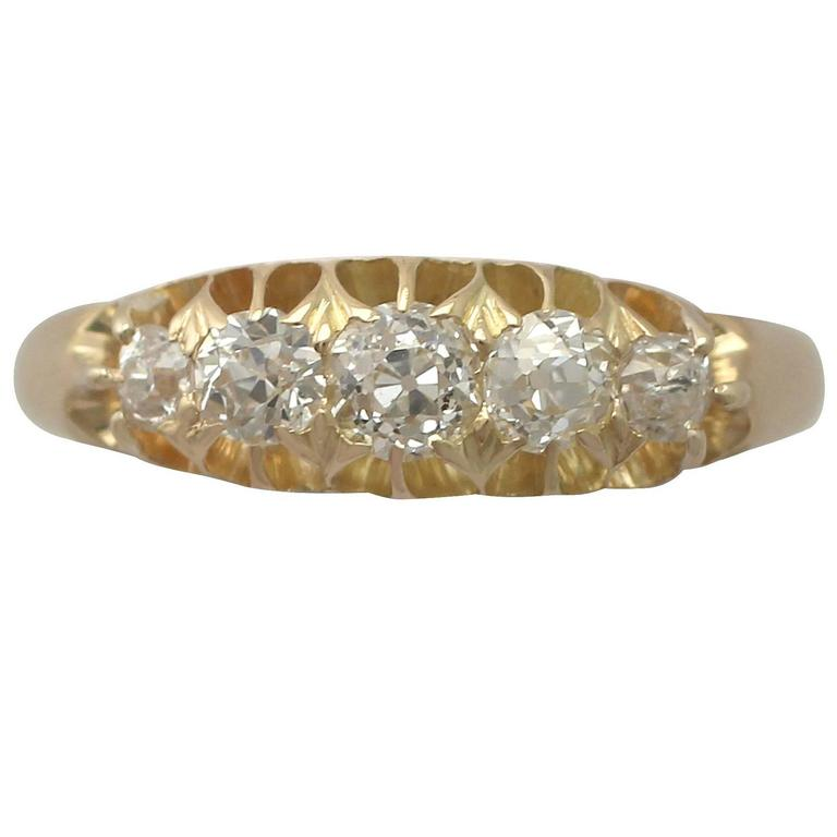 1890s Antique Diamond and Yellow Gold Cocktail Ring