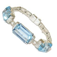 1950s Aquamarine Diamond Bracelet
