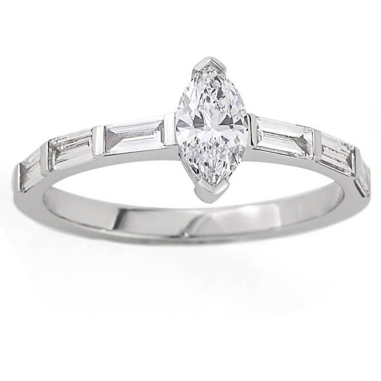 White Gold Marquise White Diamond Half Channel Set Baguette Band Engagement Ring