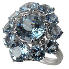 Berca 7.92Kt Natural Brazilian Aquamarine Diamond Gold Ring