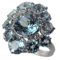 7.92 Carat Natural Brazilian Aquamarine Diamond Gold Ring