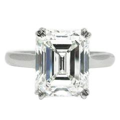 Tiffany & Co. 4.12 Carat GIA Emerald Cut Solitaire Diamond Platinum Ring