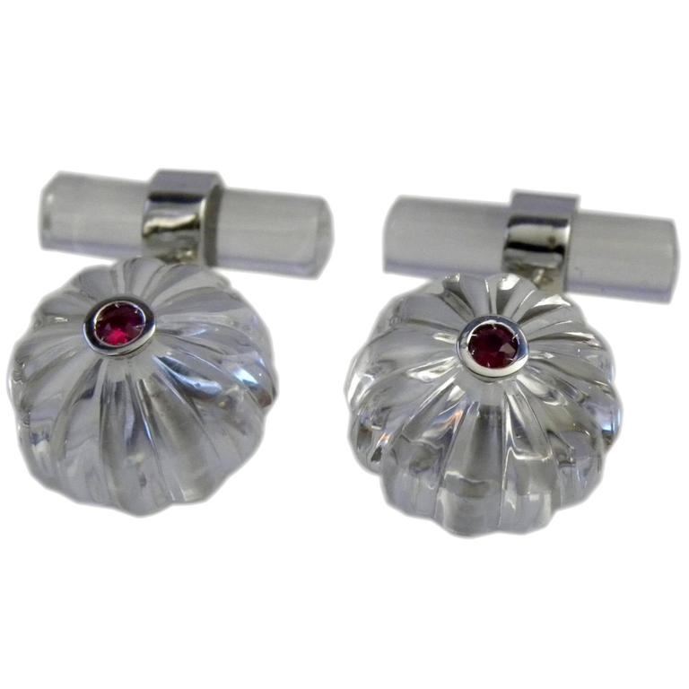 Hand Inlaid Natural Rock Crystal Cabochon Natural Ruby Gold Cufflinks For Sale