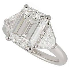 Cartier Emerald Cut Diamond Gold Ring 5.03 Carat GIA Certified