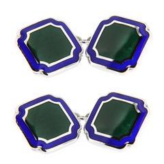 Jona Blue & Green Enamel Sterling Silver Cufflinks