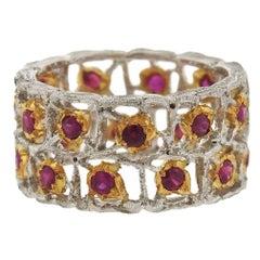 Buccellati Gold Ruby Eternity Band Ring