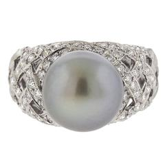 Buccellati Gold Pearl Diamond Cocktail Ring