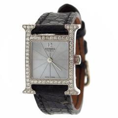 Hermes Ladies Gold H Hour Diamond Wristwatch