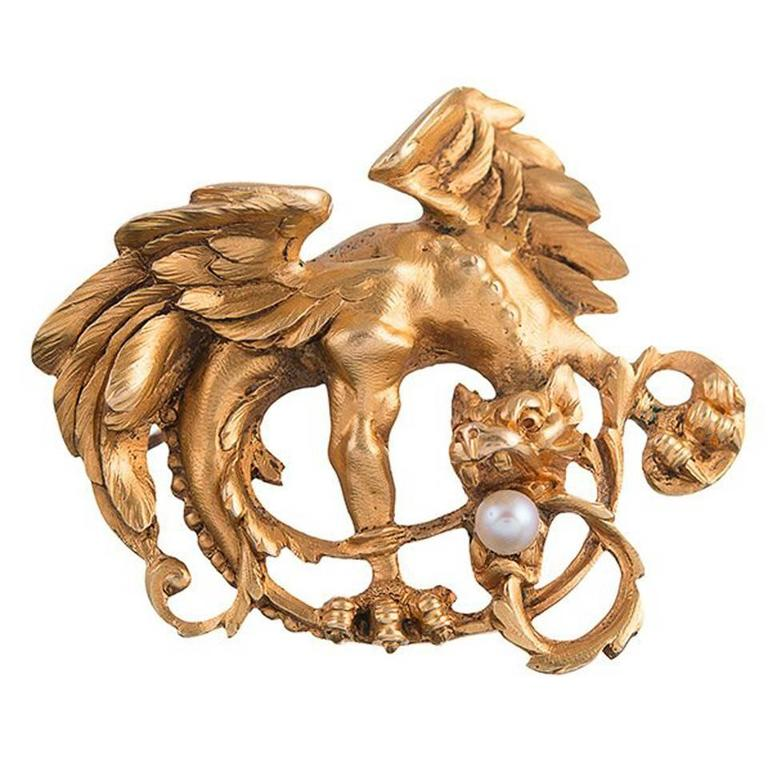 Art Nouveau Pearl Gold Griffin Brooch or Pendant