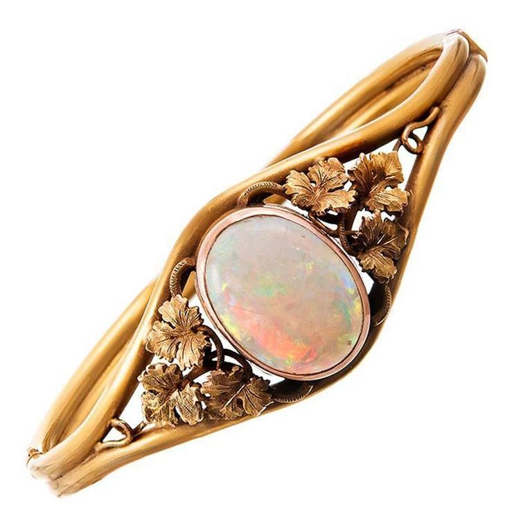 Victorian Opal Bangle Bracelet with Grape Leaves