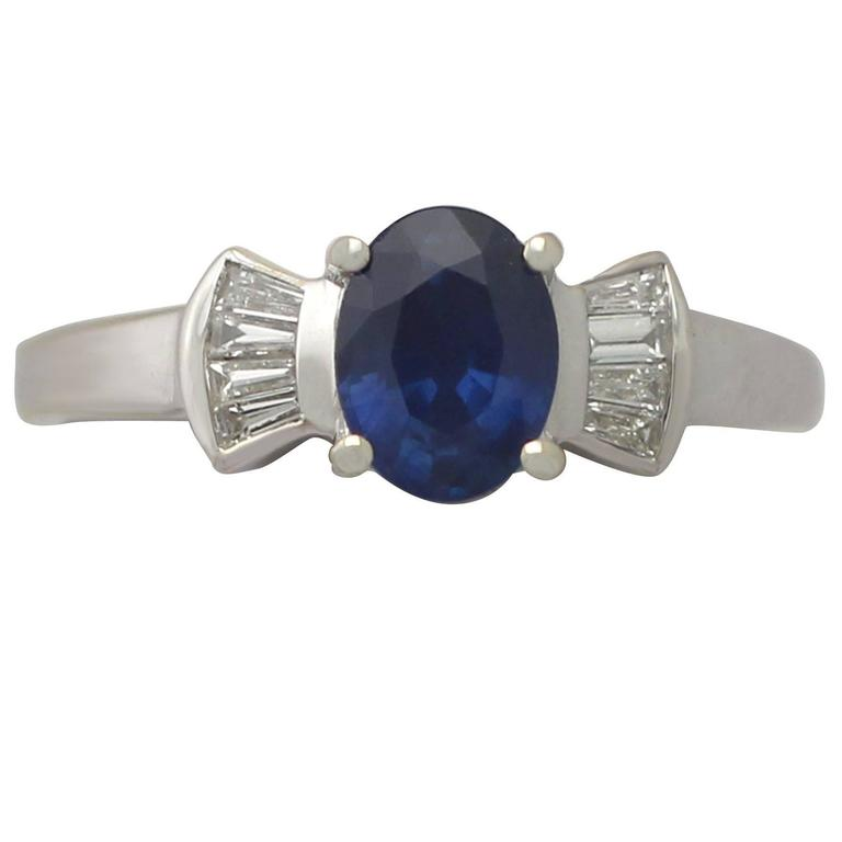 1990s 1.06 Carat Sapphire and Diamond White Gold Cocktail Ring