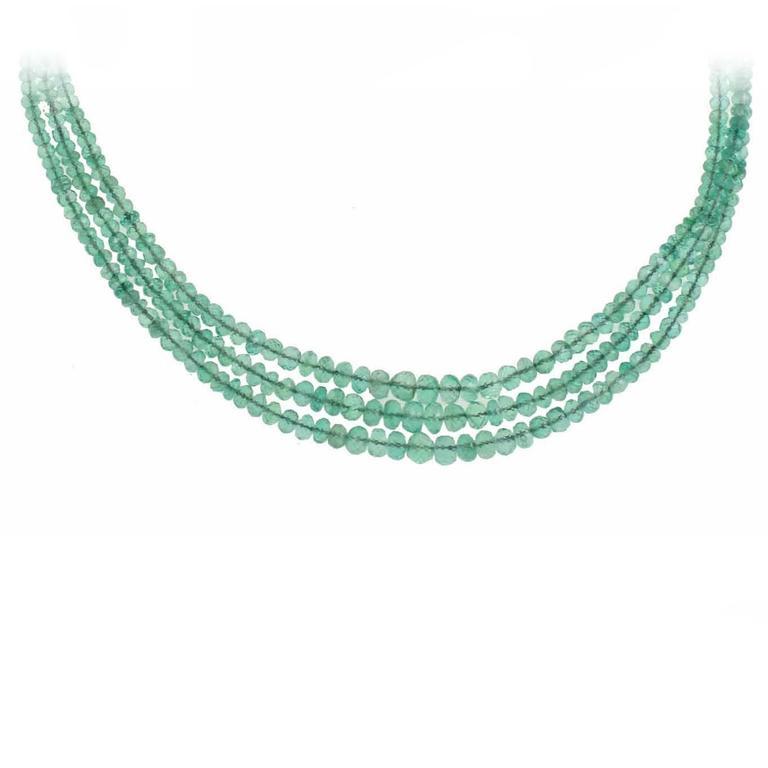 Multi Strands  Hight Quality Emeralds Choker Gold Necklace