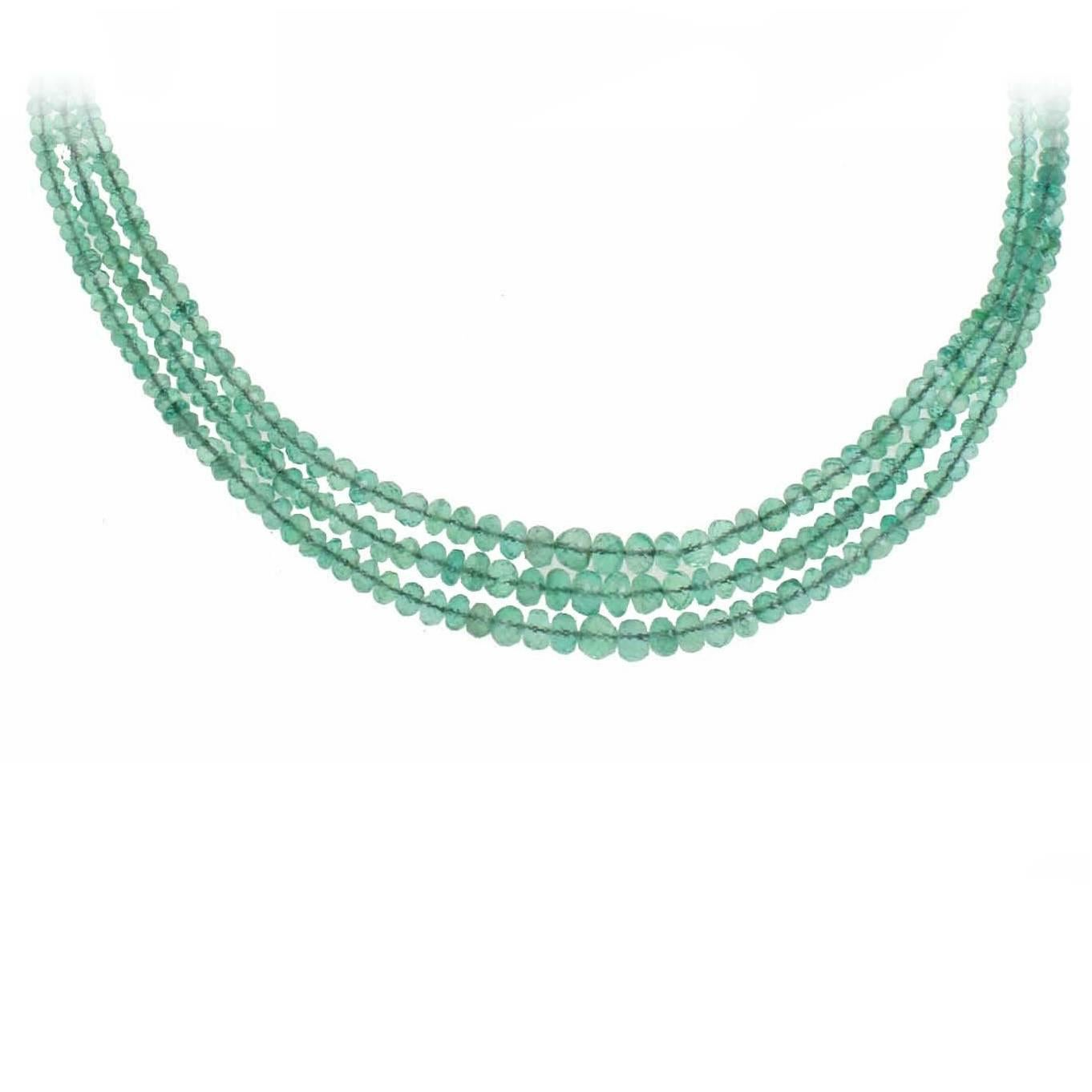 Multi Strands High Quality  Emeralds Choker Gold Necklace