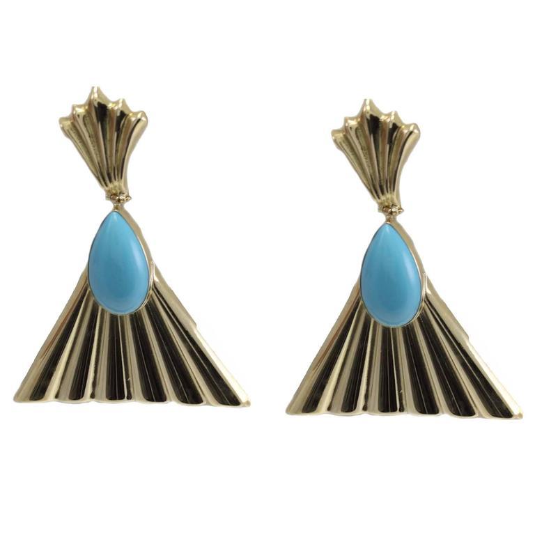 Turquoise Gold Dangle Fan Earrings
