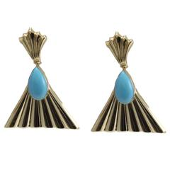 Turquoise Gold Dangle Fan Earrings