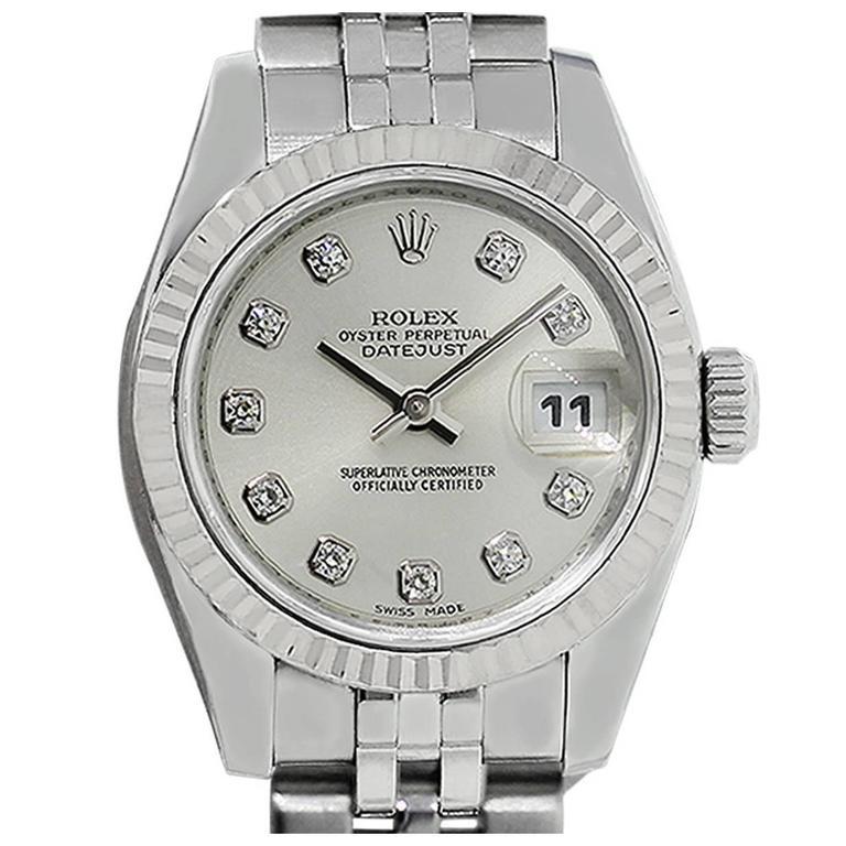 Rolex Ladies Stainless Steel Diamond Dial Wristwatch Ref179174