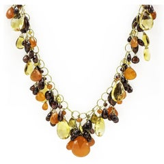 Citrine, Carnelian and Garnet Briolette Bead Necklace in Gold