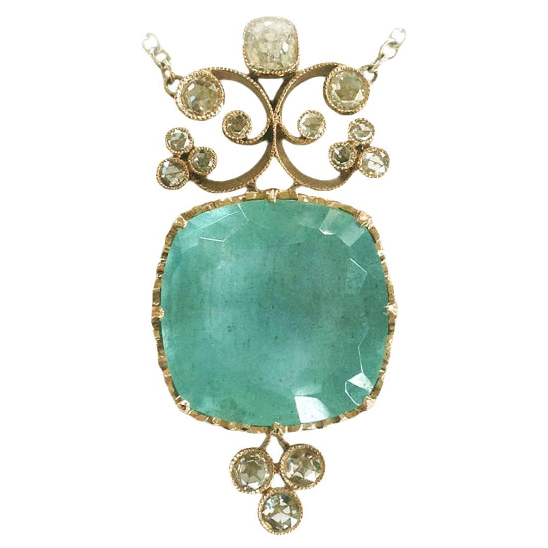 Dalben Aquamarine Diamond Gold Pendant Necklace