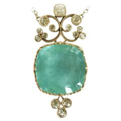 Dalben Aquamarine Diamond Gold Pendant Necklace