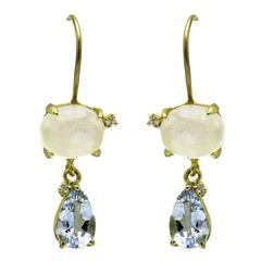 Oval Moonstone Pear Aquamarine and Diamond Dangle Drop Earrings in Gold