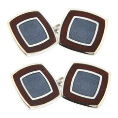 Jona Blue and Red Enamel Square Sterling Silver Cufflinks