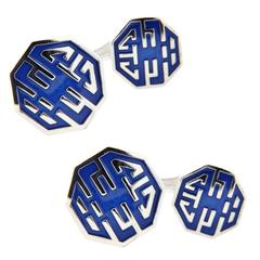 Jona Long and Happy Life Symbol Enamel Sterling Silver Cufflinks