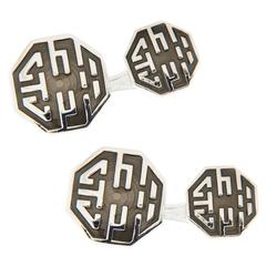 Jona Long and Happy Life Symbol Grey Enamel Sterling Silver Cufflinks