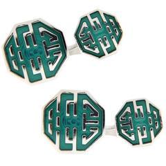Jona Long and Happy Life Symbol Green Enamel Sterling Silver Cufflinks