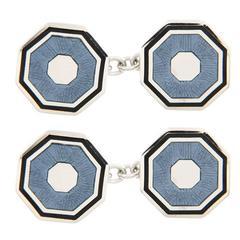 Jona Light Blue Enamel Octagonal Sterling Silver Cufflinks