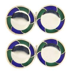Jona Blue and Green Enamel Sterling Silver Cufflinks