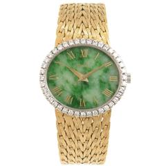 Piaget Ladies Yellow Gold Diamond and Nephrite Dial Wristwatch