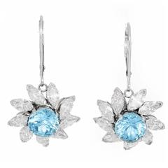 Stunning Aquamarine and Diamond Flower Dangle Earrings
