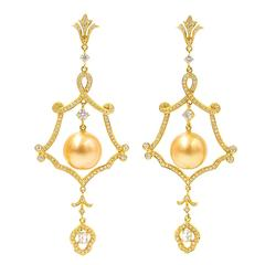 Michael Christoff Golden South Sea Pearl Diamond Gold Earrings