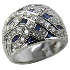 3.90Carat Natural Sapphire 1.23 Carat Diamond Sumptuous Art Déco Gold Ring