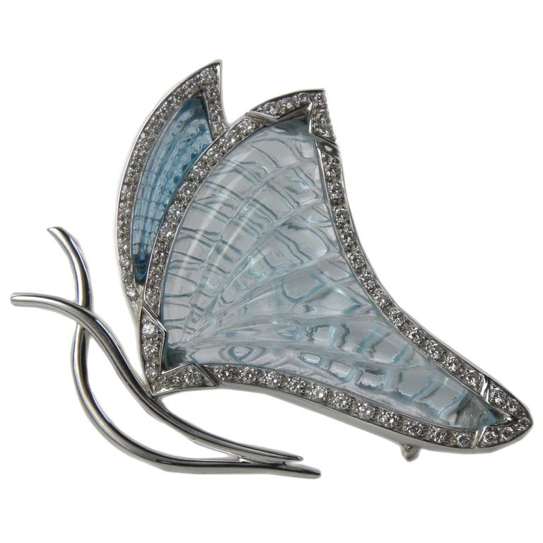 25 Carat Natural Hand Inlaid Aquamarine And Topaz Diamond Butterfly  Brooch