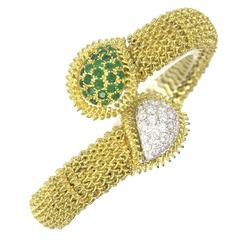 Emerald Diamond Gold Flexible Bypass Bracelet