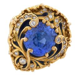 Marcus & Co. 1900s Blue Sapphire Diamond Enamel and Gold Ring