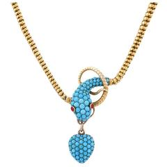 Tessier London Antique Turquoise Ruby Gold Snake Necklace