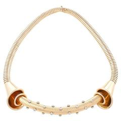 French 1940s Retro Diamond and Gold Tubogas Necklace