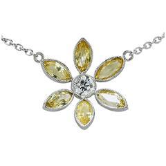 Yellow Sapphire Diamond Platinum Necklace