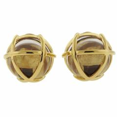 Verdura Caged Crystal Gold Earrings