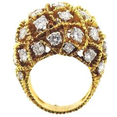 1970s Diamond Gold Dome Ring