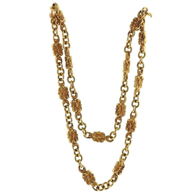e0a3078e4660c2 Antique Art Nouveau Gold Long Chain Necklace For Sale at 1stdibs