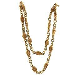 Antique Art Nouveau Gold Long Chain Necklace
