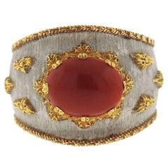 Buccellati Coral Gold Cuff Ring