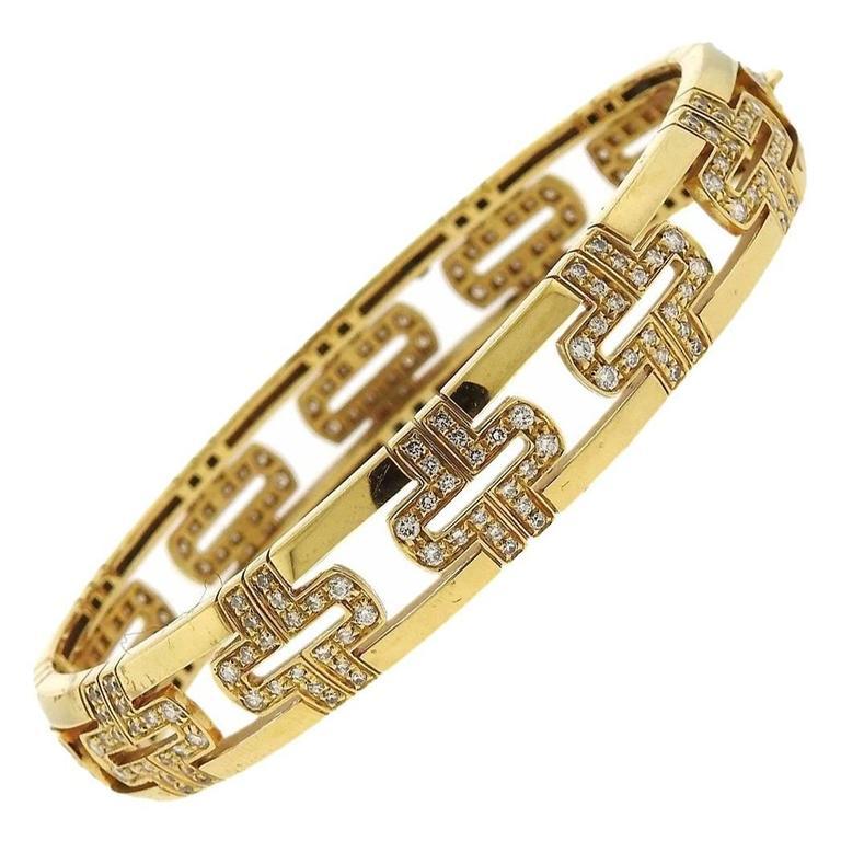 Bulgari Parentesi Demi Pave Diamond Gold Bangle Bracelet