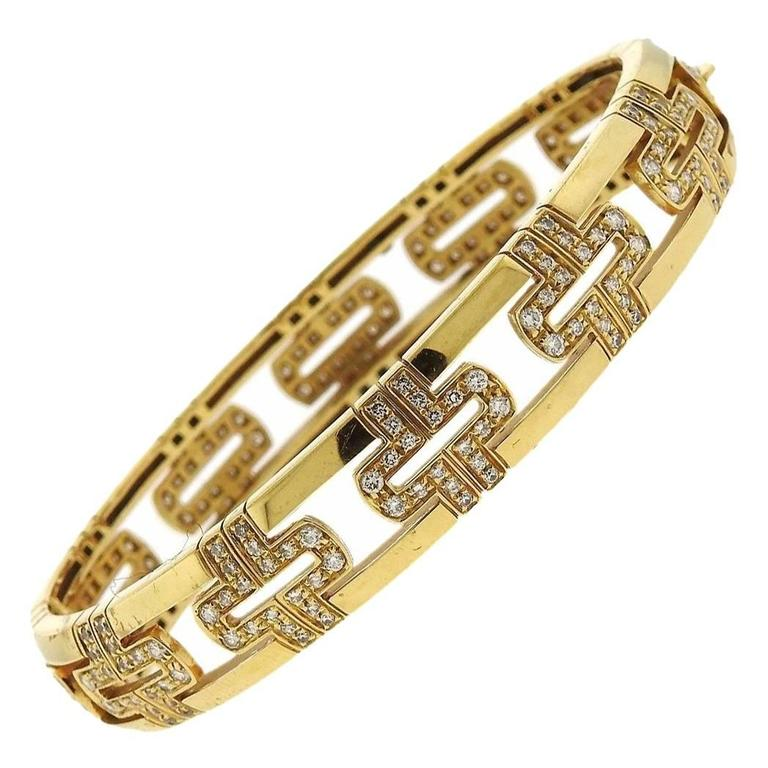 Bulgari Parentesi Demi Pave Diamond Gold Bangle Bracelet For Sale