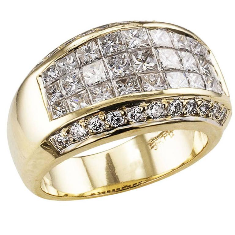 Wide Princess Cut Diamond Gold Band Ring