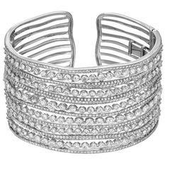 Multi Row Diamond Gold Cuff Bracelet