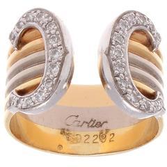 Cartier Double C Diamond Tricolor Gold Ring